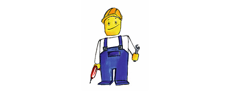 A little comic man in work clothes holds a drill and spanner in the hands.
