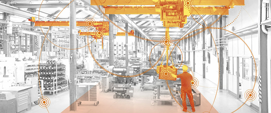 Based on a graphic, STAHL CraneSystems offers intelligent solutions for digitisation and networking in production plants.