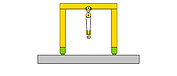 Diagram of a movable portal crane with suspended hoist