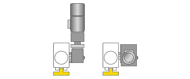Acionamento de translação angular vertical com apoio do binário vertical no bloco de rodas e horizontal com anexo lateral do apoio do binário.