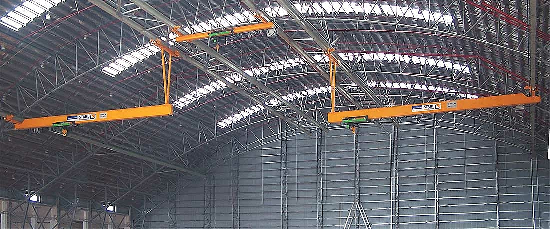 Three suspension cranes with special suspension were installed for an African airline for maintenance work on aircraft.