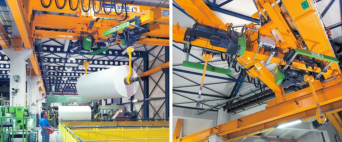 Two SH wire rope hoists with separately controllable load hooks turn a heavy reel of paper so that it can placed in the holders of a machine.