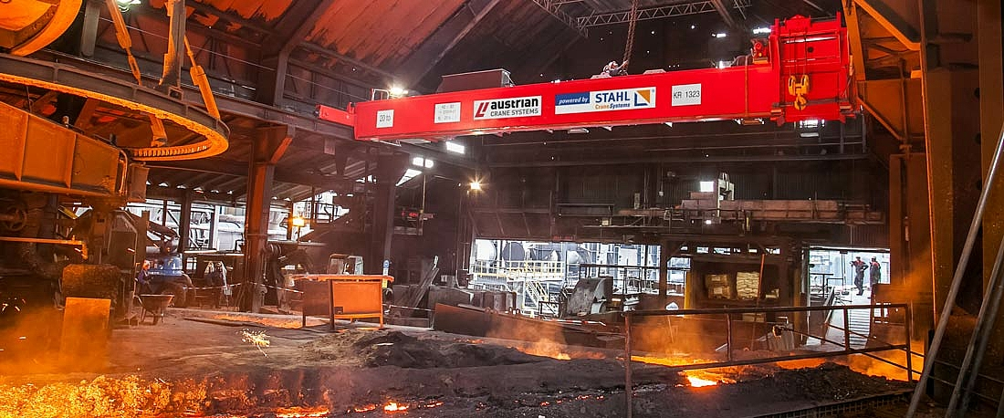 Single girder overhead travelling crane in the hall of a foundry in Austria.