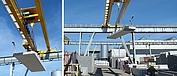 Una escalera de hormigón está suspendida de un polipasto de cable.