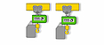Graphique des types de suspensions « crochet » et « œillet » pour le palan à chaîne ST avec hauteur perdue réduite.