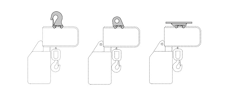 Diagram of the ST chain hoist with hook suspension, eye suspension and rigid suspension.