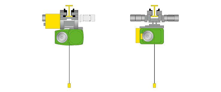 Gráfico de un polipasto de cable SH y de un polipasto de cable AS 7 para ilustrar el nivel de seguridad 1