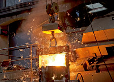 Glowing steel in a foundry