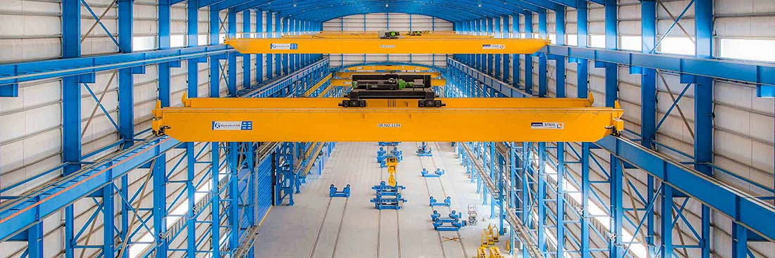 Double girder overhead travelling cranes at a large plant in the Arabian region.