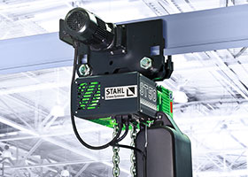 The ST chain hoist from STAHL CraneSystems is particularly robust and easy to maintain. It comes with push or electric trolley and is available both as standard hoist or as custom hoist.