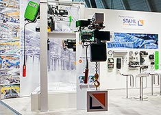 The booth of STAHL CraneSystems at the LogiMAT 2017