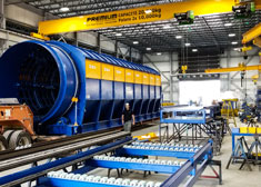 Wire rope hoists from STAHL CraneSystems transport screen drums for Machinex in Canada.